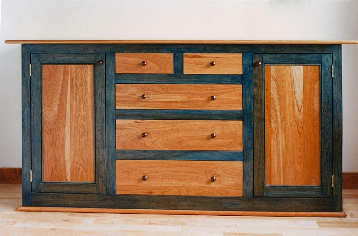 Buffet with Doors and Drawers in Cherry - Natural and Blue Stain