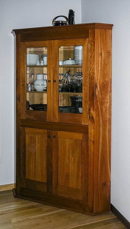 Corner Cabinet in Cherry and Beveled Glass Doors