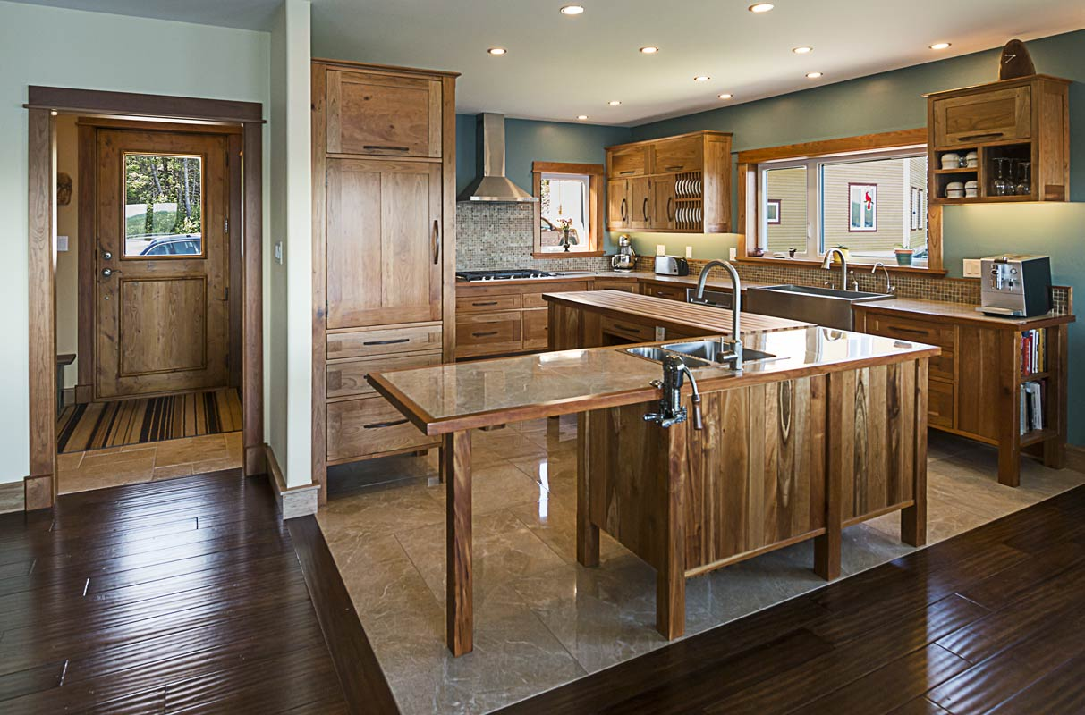 Custom Kitchen in Cherry with Lower Cabinets and Island on Feet – 2