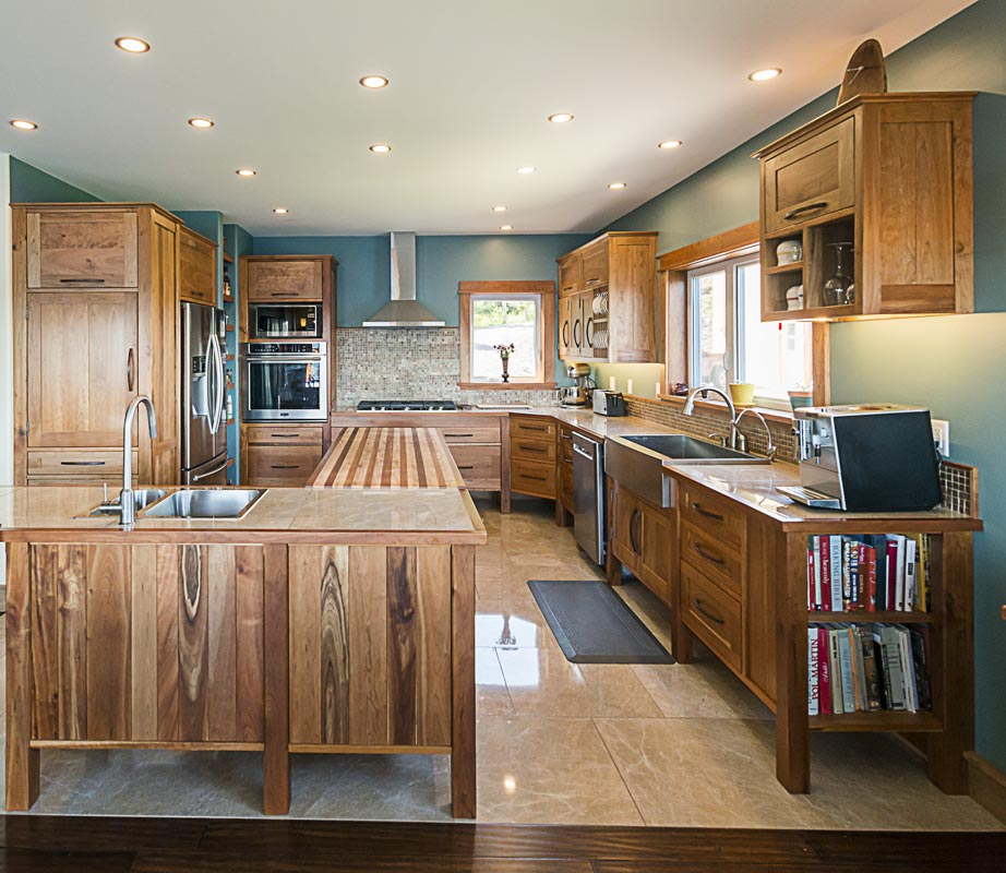 Custom Kitchen in Cherry with Lower Cabinets and Island on Feet – 3