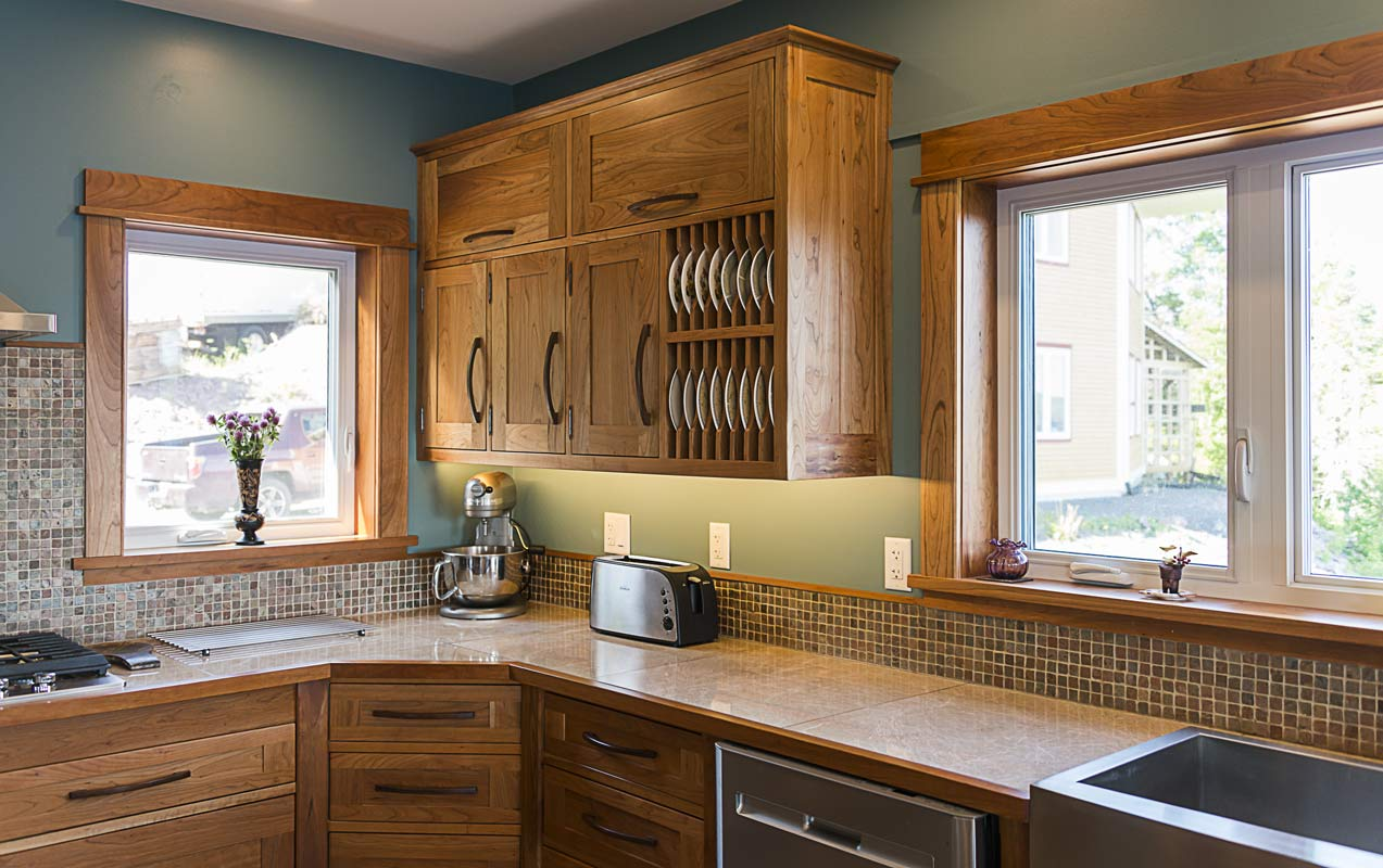 Custom Kitchen in Cherry with Wall Cabinets and Plate Racks – 1