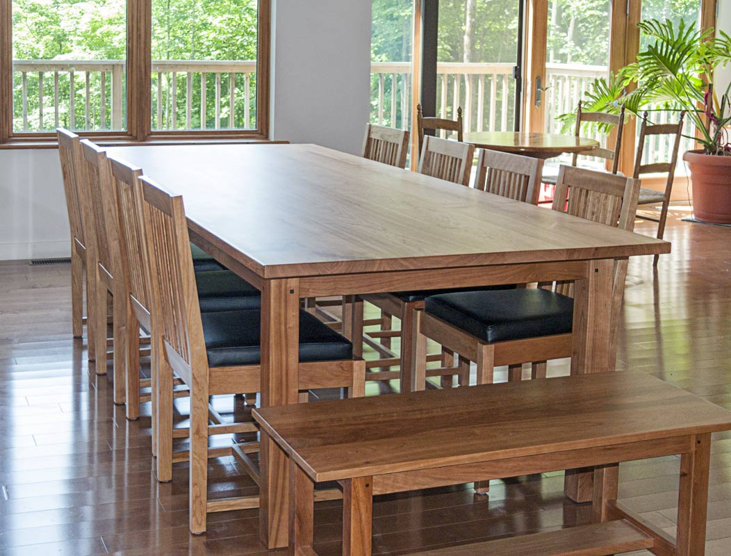 Mission Style Dining Room Set in Cherry - End view