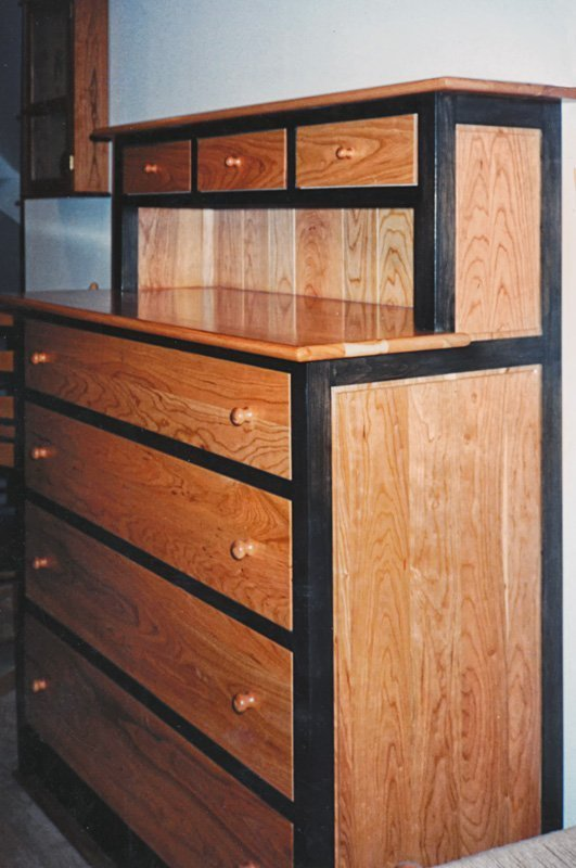 Large Highboy Dresser in Cherry - Natural and Black Stain