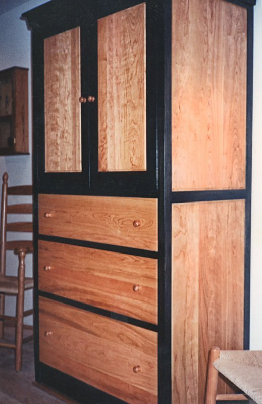 Bedroom Armoire in Cherry - Natural and Black Stain