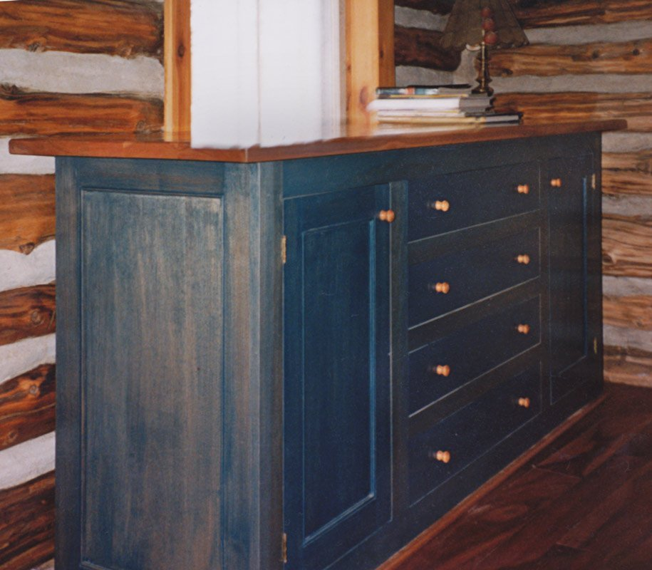 Dresser with Two Doors and Four Drawers in Cherry - Natural and Blue Stain