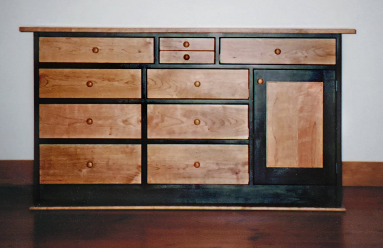 Dresser with Many Sizes of Drawers in Cherry - Natural and Blue Stain