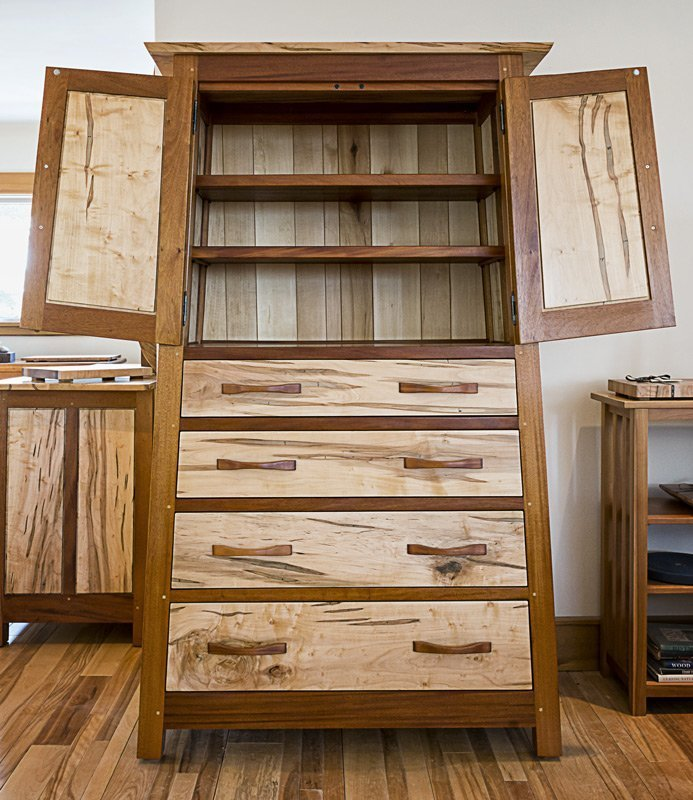 Hunter Armoire — Mahogany and Ambrosia Maple — Front View with Doors Open