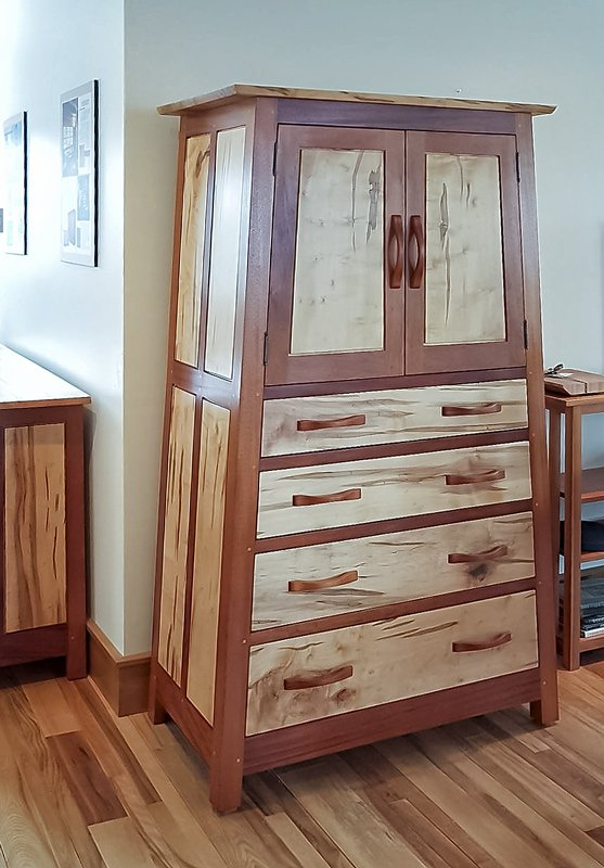 Hunter Armoire — Mahogany and Ambrosia Maple — Front View