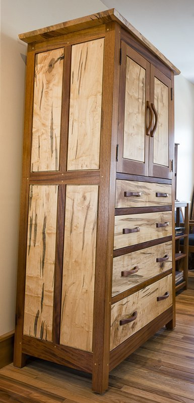 Hunter Armoire — Mahogany and Ambrosia Maple — Side View