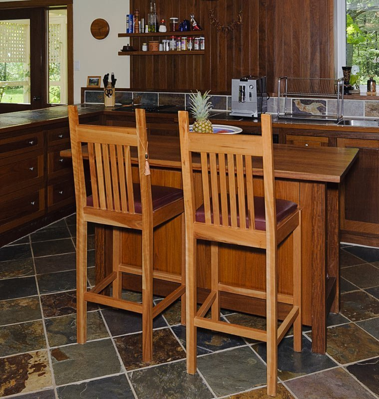 Mission Style High Stools in Cherry