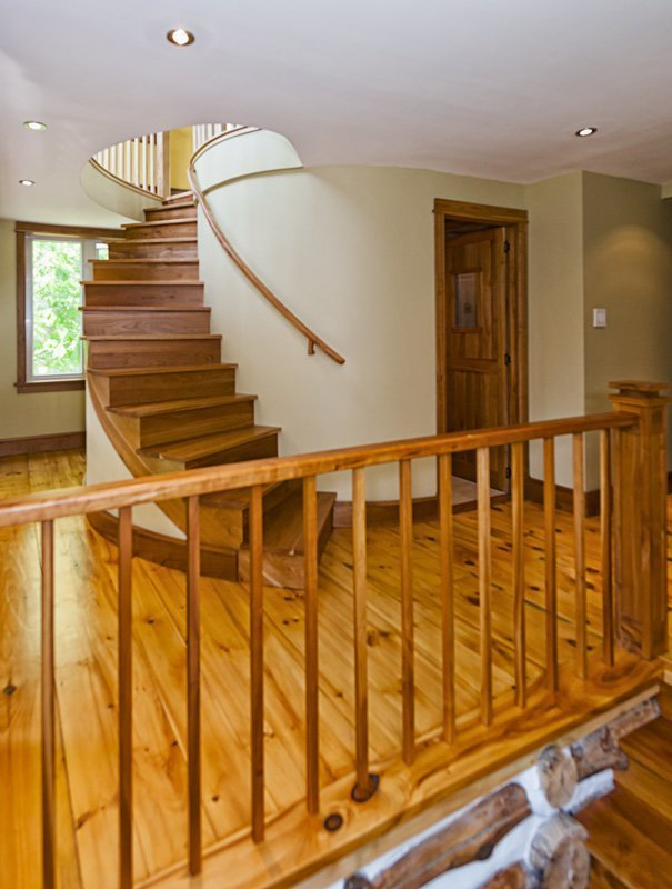 Winding Staircase and Handrail with newel posts