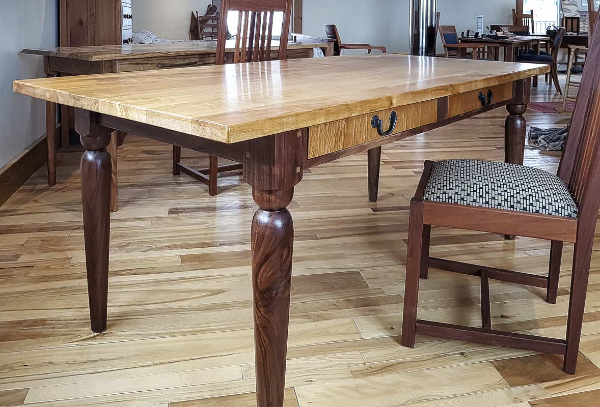 Working Table – Hard Maple Top with Walnut Legs